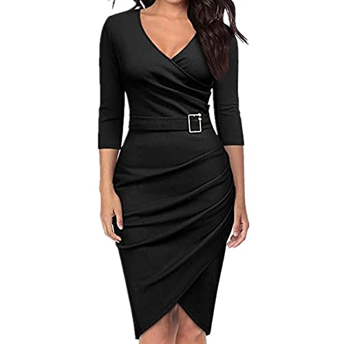 N\P Sexy Women's Party Dress Solid Color Knee Length Half Sleeve V-Neck Dress Black