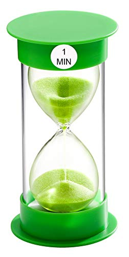 SuLiao Sand Timer 1 Minute Hourglass: Unbreakable Green Sand Watch 1 Min, Large Sand Clock one Minute, Colorful Plastic Hour Glass Sandglass for Kids, Games, Classroom, Kitchen, Decoration