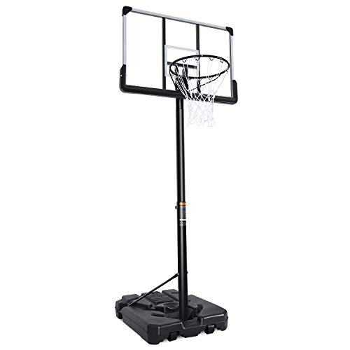 MaxKare Portable Basketball Hoop & Goal Basketball System Basketball Stand Height Adjustable 7ft 6in-10ft with 44 Inch Backboard & Wheels for Youth Kids Indoor Outdoor Use