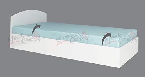 Arredodacasa.com Letto Singolo LG10 90x200 con Contenitore (Bianco Lucido)