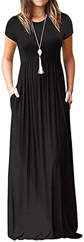 I2crazy Damen Sommer Casual Maxikleider Strand Cover Up Loose Empire Taille Lange Kleider mit Tasche, 01black, Groß