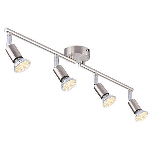 Luz de riel, Focos de LED techo ajustables GU10 con 4 Luces, Cabezas de luz giratorias flexibles de iluminación de 400 lm, Para moderna para sala de estar de cocina (Plata)