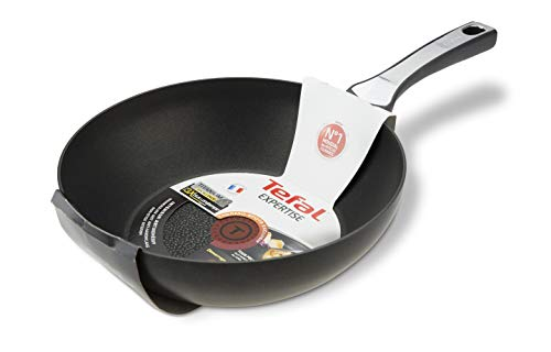 Tefal Expertise - Wok de aluminio de 28 cm, antiadherente con extra de titanio, aptas para todo tipo de cocinas incluido inducción