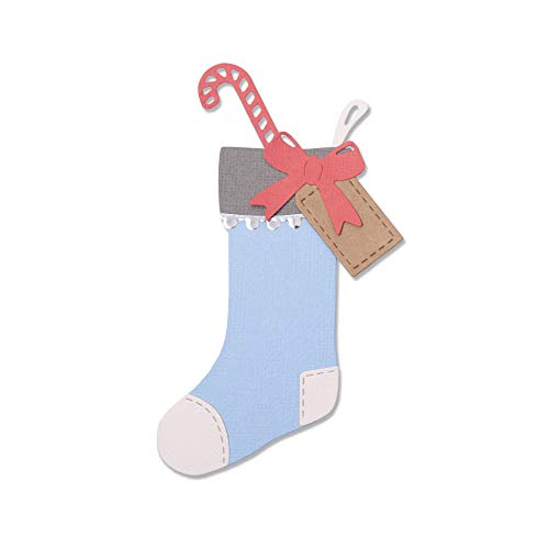 Sizzix Thinlits Die Set 663426 Christmas Stocking with Candy Cane & Gift Tag by Sophie Guilar, 7 Pack, Multi-Colour, One Size