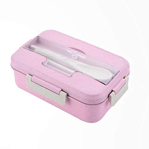 KLSAMNM Picnic Bento - Caja de almuerzo con tres rejillas con vajilla para niños y adultos
