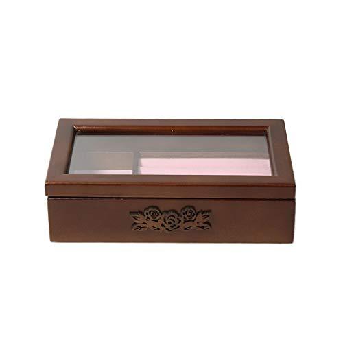 Milageto Caja de joyería de Madera Clara escaparate Reloj Pendiente Anillo Organizador de Almacenamiento portátil