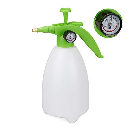 Scopri offerta per Relaxdays Spruzzatore a Pressione, Valvola Regolabile in Ottone, Manometro, Nebulizzatore, Pesticidi, Bianco/Verde