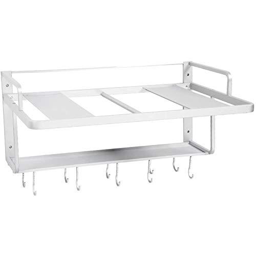 Estink Mikrowellen-Regal, Platz aus Aluminium, doppelte Schichten, zum Aufhängen, Halterung für Backofen, Mikrowelle, Organizer, Regal für die Küche