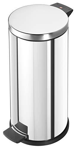 Hailo Solid L Mülleimer   1 x 18 Liter   Treteimer mit verzinktem Inneneimer   selbstlöschend   Tragegriff   Anti-Rutsch-Füße   Mülleimer Küche rund   Abfalleimer   Made in Germany   Edelstahl
