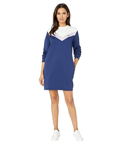 Lacoste Women's Long Sleeve French Terry Colorblock Dress, Methylene/Provence Purple-Flour, 8