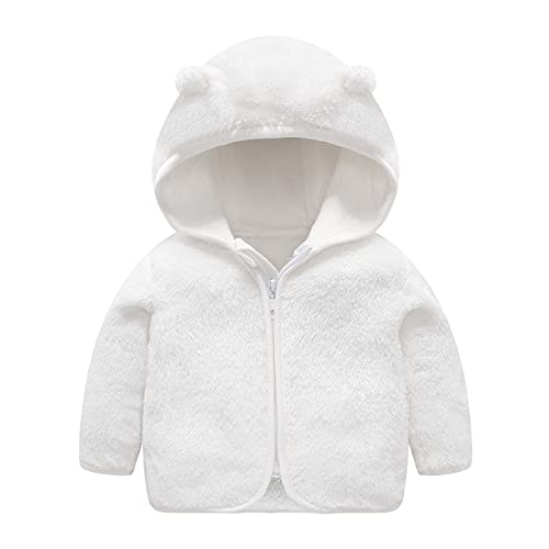 Dreamyth Baby Boys Girls Zip Up Fleece Jackets with Bear Ears Winter Fall Light Hooded Jacket Warm Coat Infant Outerwear
