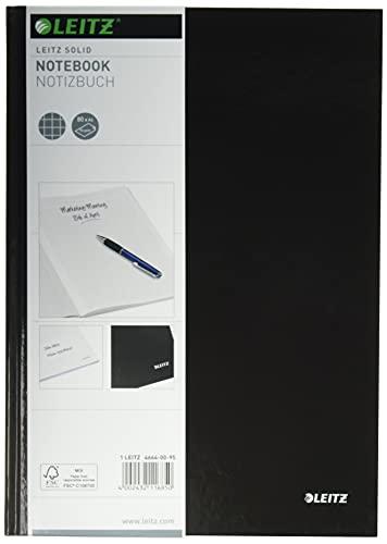 Leitz A4 Notizbuch, 80 Blatt, Hardcover, Karierte Seiten, Solid, Schwarz, 46640095