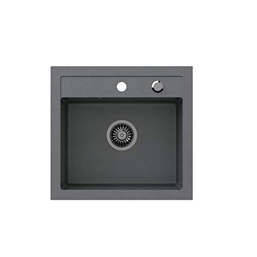 VBChome Spülbecken 50 x 47 cm Grau Spüle Einzelbecken Küche Einbauspüle Verbundspüle Küchenspüle gesprenkelt flächenbündig + Siphon Waschbecken