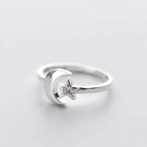 WOZUIMEI S925 Anillo de Plata Mujer Coreana Moda Diamante Estrella Luna Anillo Estrella de Cinco Puntas Anillo DulceAnillo ajustable