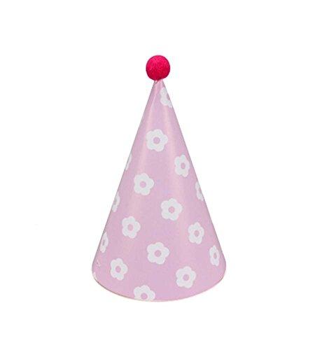 Blancho Fournitures [Fleur] 7Pcs Anniversaire d'enfants Hat Pink Party Party Hat
