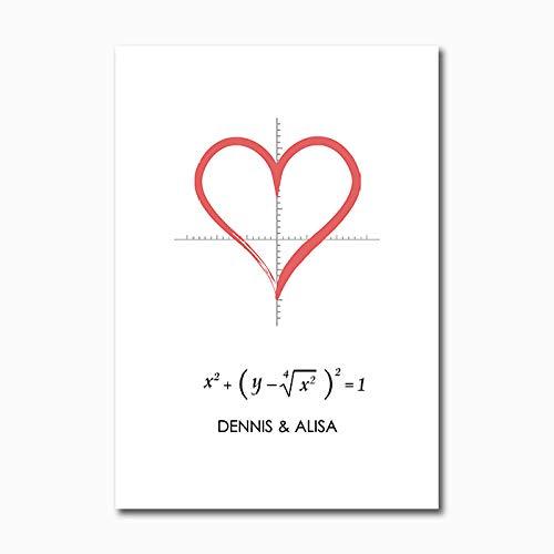 YCHND Affiche en Forme de Coeur Citations d'amour Toile Tableaux Connaissances Arts Mural Affiches minimalistes Imprime Salon Maison Deco Murale Photo 40x60 cm sans Cadre