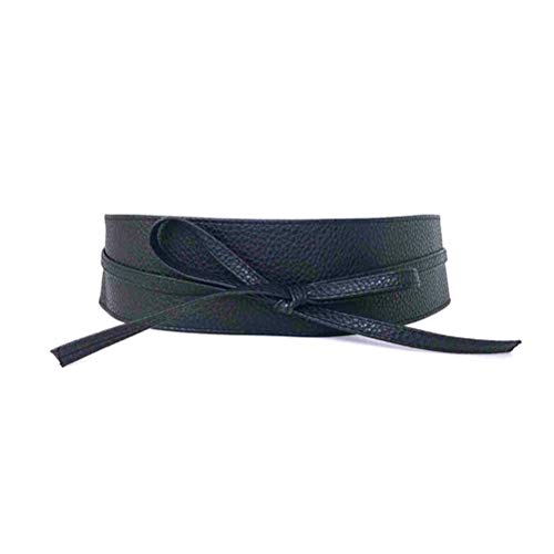 KESYOO Fashion Feminino Couro PU Laço Cintura Cinto Alça Cummerbund para Vestido (Preto), Preto, tamanho �nico