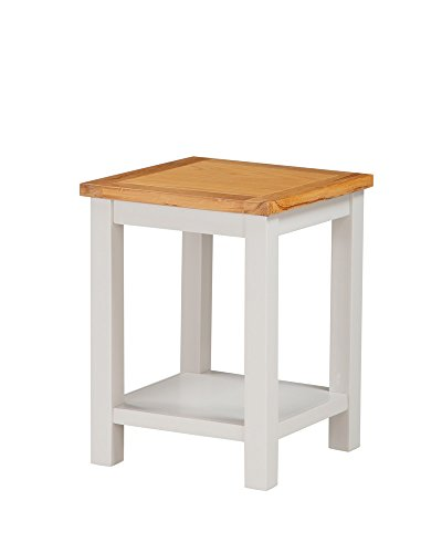 Metro Painted End Table - Lamp Table - Side Table with Under Shelf - Finish : Stone White Painted Sides and Oak Top - Living Room - Bedroom Furniture by The One