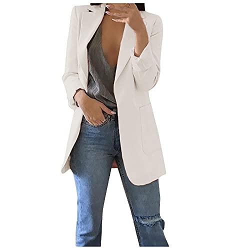 TIMEMEAN Boyfriend Blazers for Women Plus Size Long Sleeve Open Front Office Work Business Suit Jacket White M