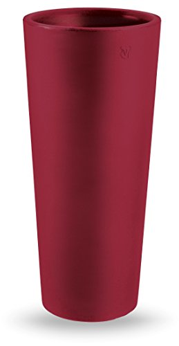 Vaso Tondo moderno liscio Zajsan Ø38xh 85 cm in resina cache-pot rosso oriente