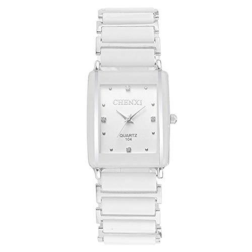 Armbanduhr Quadratische Paar-Paar-Mode-Keramik-Uhr, Männliches Weiß