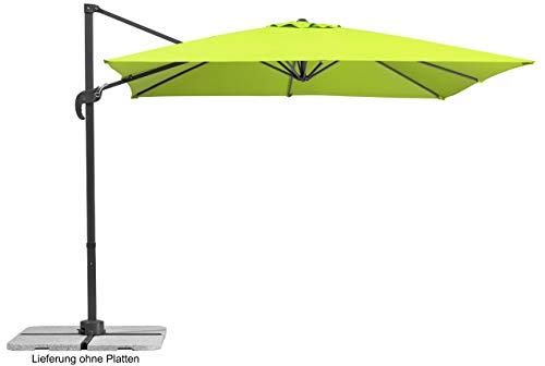 Schneider Sonnenschirm Rhodos Junior, Grün (apfelgrün), 270x270 cm quadratisch, Gestell Aluminium/Stahl, Bespannung Polyester, 18 kg