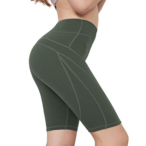 AS ROSE RICH Yoga Shorts for Women-Biker Shorts-High Waist Tummy Control + 3 Pockets Olive...