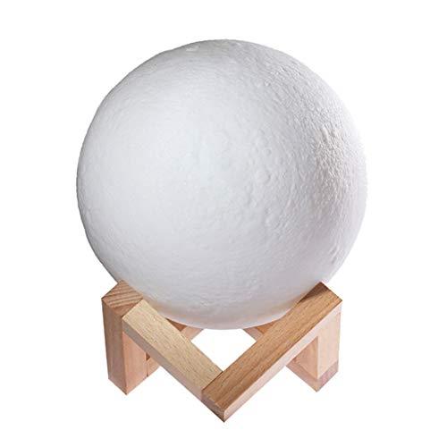 Nikunty lámpara en la luna impresión 3D 16 colores interruptor táctil recargable LED noche luz creativa decoración con soporte madera