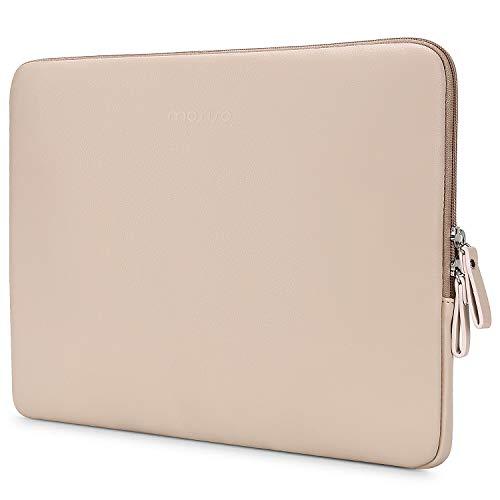 MOSISO PU Leder Sleeve Hülle Kompatibel mit 13-13,3 Zoll MacBook Air/MacBook Pro Retina/2019 2018 Surface Laptop 3/2/Surface Book 2, Gepolstert wasserdichte Laptoptasche, Aprikose