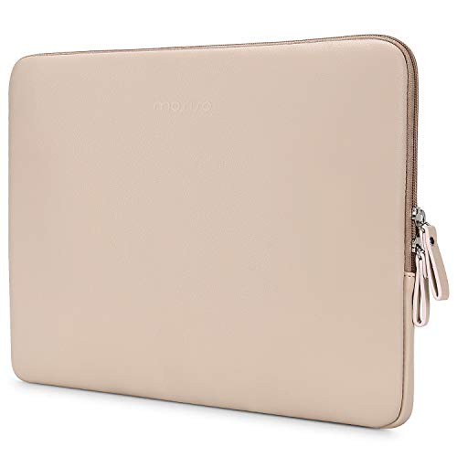 MOSISO PU Leder Sleeve Hülle Kompatibel mit 13-13,3 Zoll MacBook Air/MacBook Pro Retina/2019 2018 Surface Laptop 3/2/Surface Book 2, Super Gepolstert Wasserdicht Aktentasche Notebooktasche, Aprikose