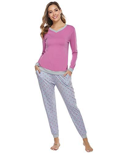 Aiboria Pijamas Invierno para Mujer, Algodón Manga Larga 2 Piezas Cálido Top de Dormir y Pantalones Prenda de Vestir