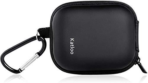Katloo Universelle Kopfhörer-Tasche, Mini Etui Tasche für In-Ear Ohrhörer mit Netzfach Eva Hülle Hardcase Aufbewahrungsbox Schutztasche, Schwarz