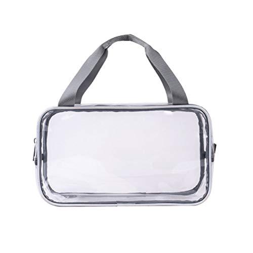 Sacs de maquillage transparents multifonctionnels PVC Sac à main portable Sac de toilette imperméable Trousse de toilette (Gris)