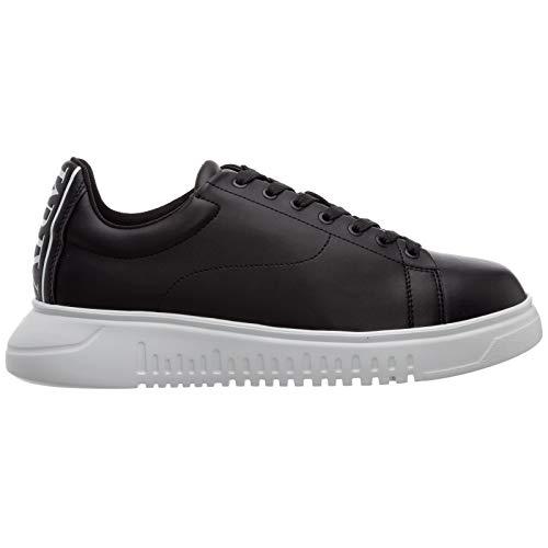 Emporio Armani X4X312 - Zapatillas deportivas con cordones de piel para hombre K001 Black 42