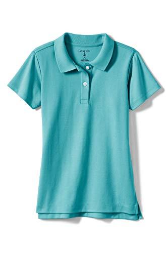 Lands' End School Uniform Girls Short Sleeve Feminine Fit Interlock Polo Shirt Large Teal Breeze