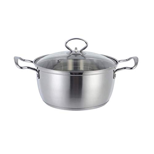 LILICEN Stock Pot with Glass Lid, Stainless Steel, Diameter 23.5 cm, Height 12.5 cm