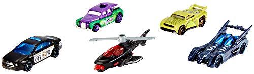 Hot Wheels GGD32 Batman Spielzeugauto 5er Geschenkset, Spielzeug ab 3 Jahren