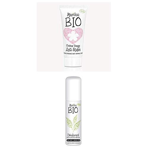 Duo de produit de beauté MARILOU BIO - Gamme Classic - Crème anti rides - Déodorant Thé vert