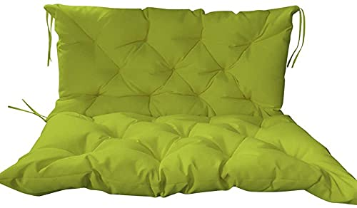 Ultra Thick Garden Bench Seat Cushion with Backrest,Sofa Seat Pad Cover,Outdoor Indoor Bench Swing Waterproof Mattress for 2-3 Seater (120x50x50cm, Green2)