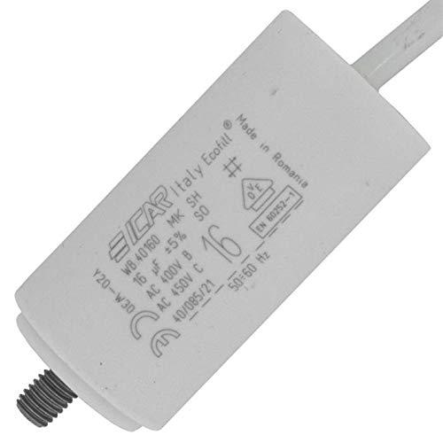 Anlaufkondensator Motorkondensator 16µF 450V 35x71mm Kabel 35cm ICAR 16uF