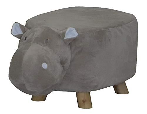 Meubletmoi Pouf Enfant Design Hippopotame Gris Tissu Doux et Pied Bois - Tabouret Jouet Forme Animal - Hippo