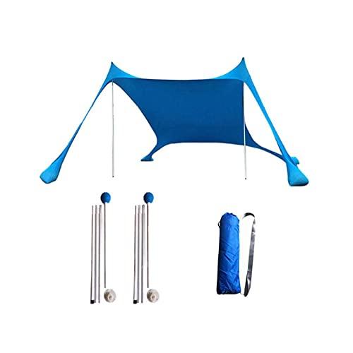 YSJJYQZ Tienda de campaña Tienda de Sombra de Sol Ligera de la Playa de la Playa de la Playa con Anclajes de la Bolsa de Arena 4 Clavijas Libres UPF50 + UV Gran Dosel portátil (Color : Blue)