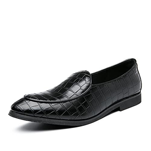 WUQIN Zapatos de Cuero con Estilo Mocasines con Punta en Punta Cuero Suave Suela Suave Ligero Transpirable Oficina Trabajo de Negocios Fiesta Nocturna Fiestas Estilo británico,Black-46EU