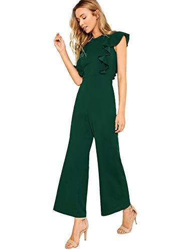 Romwe Women's Sexy Casual Sleeveless Ruffle Trim Wide Leg High Waist Long Jumpsuit Green Upgrade Large