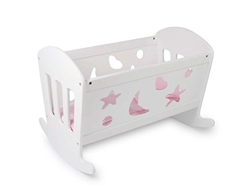 Gamez Galore White Solid Doll's Rocking Cradle Crib Bed