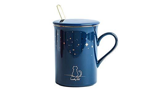 AIDEMEI Katze Sternenhimmel Keramik Tasse mit Löffel Deckel Vintage Porzellan Tasse, Blume Teetasse Kaffeetasse Wassermilch Kaffee Trinkgeschirr Geschenk 350ml
