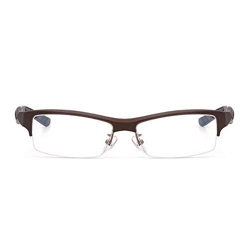 Gläser Ultraleichte TR90 Optische Sportbrille für Herren Half Frame Brillen (Color : Braun, Size : Kostenlos)