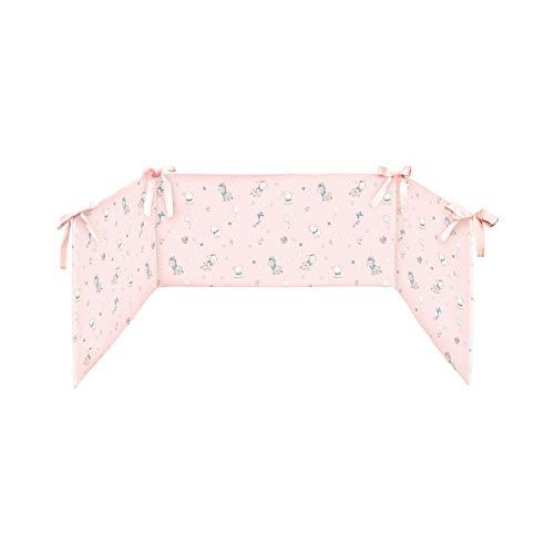 BORNINO HOME Tour de lit de 34 x 180 cm tour de lit tour de lit bébé, animaux ferme rose