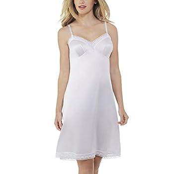 Vanity Fair Women s Rosette Lace Trim V-Neck Full Slip  10103  White Medium