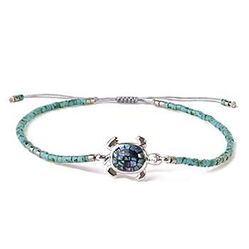 KELITCH Abalone Shell Beaded Bracelet Adjustable Turtle Friendship Wrap Bracelet Tropical Beach Sand Miyuki Bracelet Bangle  Blue